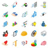 Τραπεζικά εικονίδια χρηματοδότησης καθορισμένα, isometric ύφος απεικόνιση αποθεμάτων