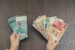 Τραπεζογραμμάτια έξι νομισμάτων της Νοτιοανατολικής Ασίας στα θηλυκά χέρια Έννοια τραπεζικών εργασιών και ταξιδιού Στοκ φωτογραφία με δικαίωμα ελεύθερης χρήσης