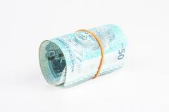 τραπεζογραμμάτια ανασκόπησης πενήντα εκατό ευρώ λευκό ρόλων χρημάτων Στοκ Φωτογραφία