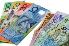 Τραπεζογραμμάτια αυστραλιανών και δολαρίων της Νέας Ζηλανδίας Στοκ Εικόνα