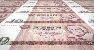 Τραπεζογραμμάτια δέκα γερμανικών μάρκων της παλαιάς Γερμανικής Δημοκρατίας, χρήματα μετρητών, βρόχος ελεύθερη απεικόνιση δικαιώματος