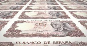 Τραπεζογραμμάτια εκατό ισπανικών πεσετών της Ισπανίας, χρήματα μετρητών, βρόχος διανυσματική απεικόνιση