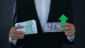 Τραπεζογραμμάτια εκμετάλλευσης ατόμων, ανάπτυξη δολαρίων σχετικά με το ευρώ, χρηματιστήριο, ανταλλαγή φιλμ μικρού μήκους