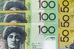 Τραπεζογραμμάτια νομίσματος που διαδίδονται πέρα από το αυστραλιανό δολάριο πλαισίων στη διάφορη μετονομασία Στοκ Φωτογραφίες