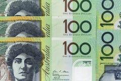 Τραπεζογραμμάτια νομίσματος που διαδίδονται πέρα από το αυστραλιανό δολάριο πλαισίων στη διάφορη μετονομασία Στοκ Φωτογραφία