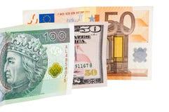 Τραπεζογραμμάτια του ευρώ και της στιλβωτικής ουσίας δολαρίων zloty Στοκ Εικόνες