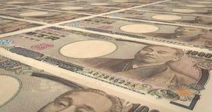 Τραπεζογραμμάτια του ιαπωνικού κυλίσματος γεν δέκα χιλιάδων στην οθόνη, χρήματα μετρητών, βρόχος φιλμ μικρού μήκους