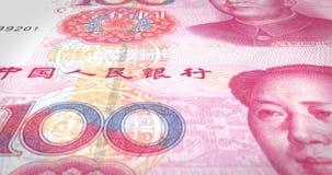 Τραπεζογραμμάτια του κινεζικού κυλίσματος renminbi εκατό στην οθόνη, χρήματα μετρητών, βρόχος απεικόνιση αποθεμάτων