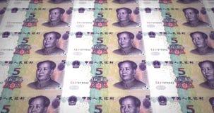 Τραπεζογραμμάτια του κινεζικού κυλίσματος renminbi πέντε στην οθόνη, χρήματα μετρητών, βρόχος απεικόνιση αποθεμάτων