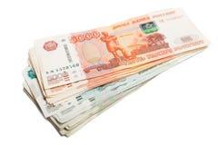 Τραπεζογραμμάτια των ρωσικών πέντε και ένα χιλιοστά Στοκ εικόνα με δικαίωμα ελεύθερης χρήσης