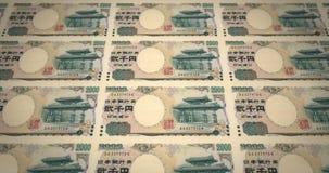 Τραπεζογραμμάτια δύο του ιαπωνικού κυλίσματος χιλιάες γεν στην οθόνη, χρήματα μετρητών, βρόχος απόθεμα βίντεο