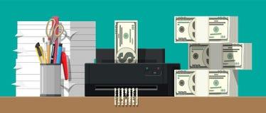 Τραπεζογραμμάτιο δολαρίων στη μηχανή καταστροφέων εγγράφων απεικόνιση αποθεμάτων