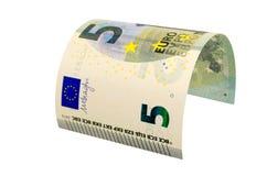 Τραπεζογραμμάτιο πέντε ευρώ που απομονώνεται στο άσπρο υπόβαθρο Στοκ εικόνες με δικαίωμα ελεύθερης χρήσης