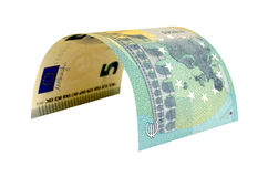 Τραπεζογραμμάτιο πέντε ευρώ που απομονώνεται στο άσπρο υπόβαθρο Στοκ Εικόνες