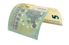 Τραπεζογραμμάτιο πέντε ευρώ που απομονώνεται στο άσπρο υπόβαθρο Στοκ φωτογραφίες με δικαίωμα ελεύθερης χρήσης
