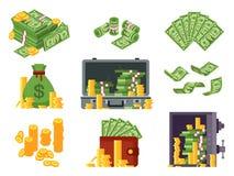 τραπεζογραμμάτιο χρημάτων Τσάντα μετρητών, πορτοφόλι τραπεζογραμματίων και σωρός δολαρίων στο χρηματοκιβώτιο Σωροί δολαρίων μερών ελεύθερη απεικόνιση δικαιώματος