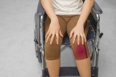 τραυματισμένη γυναίκα σε μια αναπηρική καρέκλα Στοκ Εικόνες