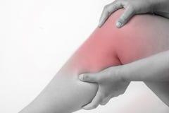 Τραυματισμός γονάτου στους ανθρώπους πόνος γονάτων, κοινό πόνων κυριώτερο σημείο τόνου ανθρώπων ιατρικό, μονο στο γόνατο Στοκ Φωτογραφίες