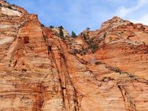 Τραχιοί απότομοι βράχοι του εθνικού πάρκου Zion Στοκ Εικόνες