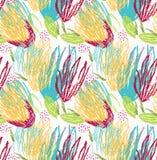Τραχύς πράσινος και κίτρινος floral βουρτσών διανυσματική απεικόνιση