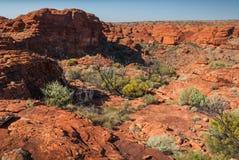 Τραχύ τοπίο στην κορυφή του φαραγγιού βασιλιάδων, Αυστραλία Στοκ Εικόνες