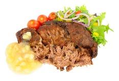 Τργμένες κρέας χοιρινού κρέατος και σάλτσα της Apple Στοκ Εικόνες