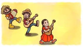 Τρεις άνθρωποι που παίζουν τα όργανα σε ένα κόμμα Festa Junina Κίτρινη έκδοση υποβάθρου watercolor Στοκ φωτογραφίες με δικαίωμα ελεύθερης χρήσης