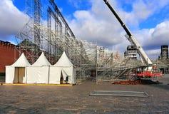 Τρεις άσπροι awnings Στοκ εικόνα με δικαίωμα ελεύθερης χρήσης