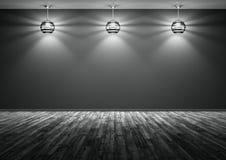 Τρεις λαμπτήρες ενάντια της μαύρης τρισδιάστατης απόδοσης υποβάθρου τοίχων ελεύθερη απεικόνιση δικαιώματος