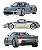 Τρεις απόψεις του ασημένιου αθλητικού αυτοκινήτου στο άσπρο υπόβαθρο ελεύθερη απεικόνιση δικαιώματος