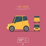 Τρεις απόψεις του αυτοκινήτου Στοκ Εικόνες