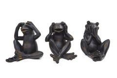 Τρεις βάτραχοι Metall Στοκ Εικόνες