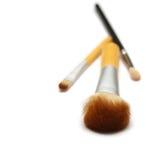 Τρεις βούρτσες makeup που απομονώνονται στο άσπρο υπόβαθρο Στοκ Εικόνες