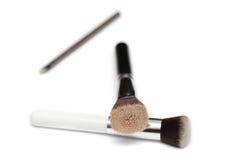 Τρεις βούρτσες makeup που απομονώνονται στο άσπρο υπόβαθρο Στοκ Φωτογραφίες