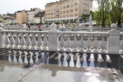 Τρεις γέφυρες στο Λουμπλιάνα, Σλοβενία στοκ φωτογραφία