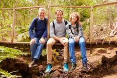 Τρεις γενεές των ατόμων σε μια γέφυρα σε ένα δάσος, πορτρέτο Στοκ Φωτογραφίες