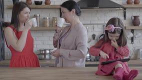 Τρεις γενεές των γυναικών που στέκονται στο τσάι κατανάλωσης στούντιο μαζί και ομιλία Καταπληκτικά μικρά παιχνίδια παιχνιδιού κορ απόθεμα βίντεο