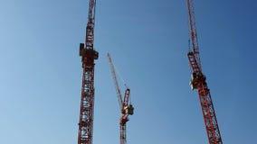 Τρεις γερανοί κατασκευής που στέκονται δίπλα-δίπλα ενάντια στον μπλε ασυννέφιαστο ουρανό Η άποψη από το σκάφος αναψυχής απόθεμα βίντεο