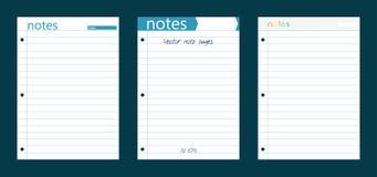 Τρεις γραμμικές σελίδες σημειωματάριων Στοκ Φωτογραφία