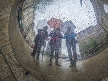 τρεις γυναίκες ομπρελών στοκ φωτογραφία