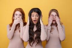 Τρεις γυναίκες που καλύπτουν τα αυτιά, τα μάτια και το στόμα τους στοκ εικόνα