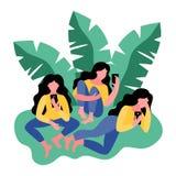 Τρεις γυναίκες χρησιμοποιούν ένα smartphone επίσης corel σύρετε το διάνυσμα απεικόνισης διανυσματική απεικόνιση