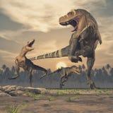 Τρεις δεινόσαυροι - τυραννόσαυρος rex διανυσματική απεικόνιση