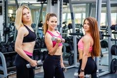 Τρεις ελκυστικές αθλήτριες που θέτουν για τη κάμερα στη γυμναστική Στοκ εικόνα με δικαίωμα ελεύθερης χρήσης