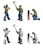 Τρεις εργαζόμενοι καθορισμένοι Στοκ Εικόνες