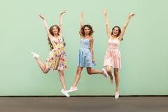 Τρεις ευτυχείς συγκινημένες νέες ενήλικες γυναίκες Στοκ φωτογραφία με δικαίωμα ελεύθερης χρήσης