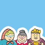 Τρεις ηλικιωμένες κυρίες, σπίτι των πρεσβυτέρων, αστεία διανυσματική απεικόνιση, ελεύθερη απεικόνιση δικαιώματος