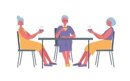 Τρεις ηλικιωμένες κυρίες στον καφέ Υπάρχουν ηλικιωμένες γυναίκες, που κάθονται στον πίνακα και τον καφέ κατανάλωσης διανυσματική απεικόνιση