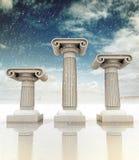 Τρεις ιόνιες στήλες αρχαίου Έλληνα wintertime Στοκ φωτογραφίες με δικαίωμα ελεύθερης χρήσης