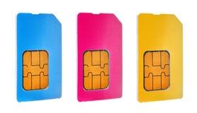 Τρεις κάρτες sim Στοκ Εικόνες